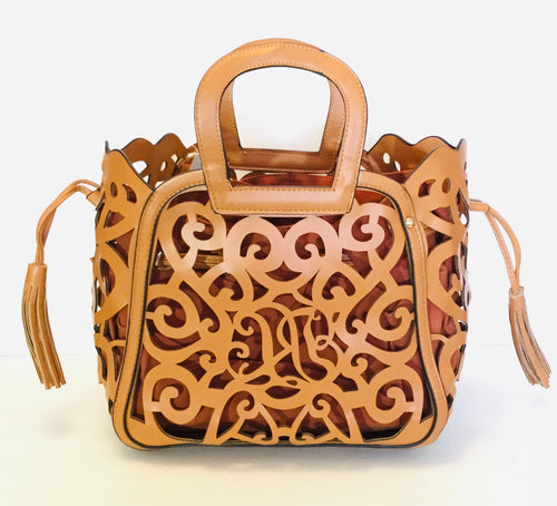 Cage Cutout Leather Handbag