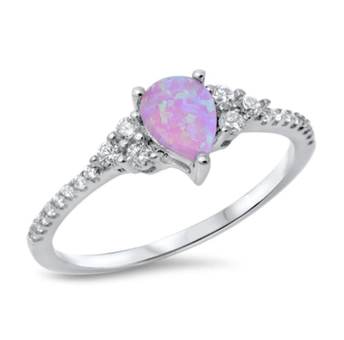 Pink Lab Opal Pear Cut Silver Ring