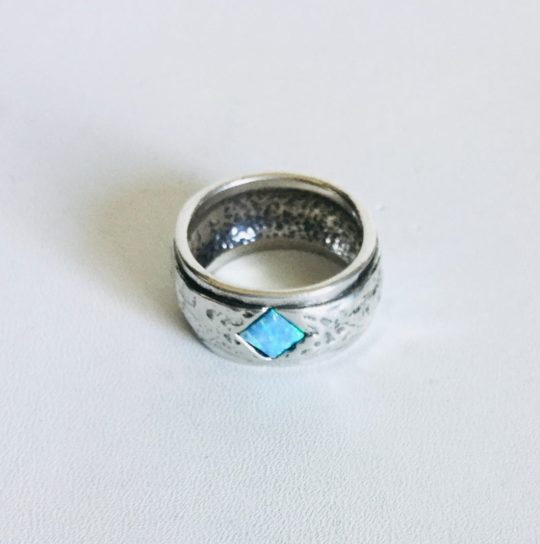 Sterling silverWide band hammered Blue Opal Ring