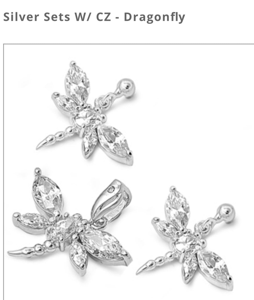 925 Sterling Dragonfly Earring And Pendant Cz Set