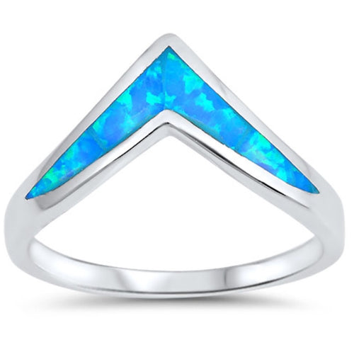 Opal Chevron Silver Ring