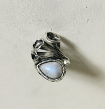 Calla lilly Moon Stone Silver Ring