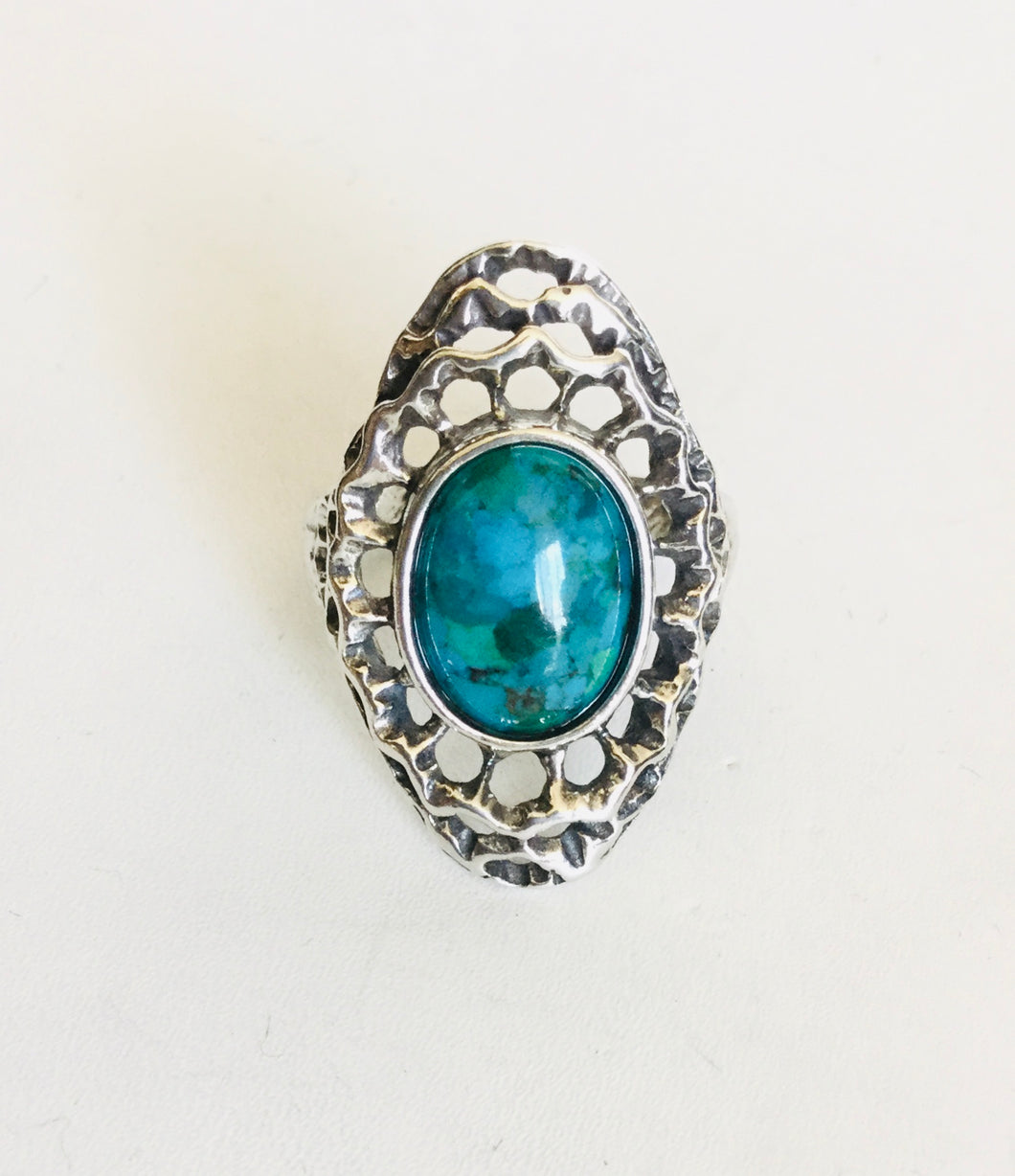Sterling silver Turquoise Shield Ring
