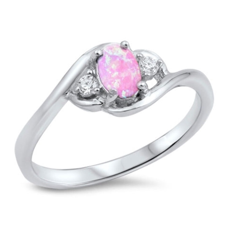 Pink Oval Opal / Cz Silver Ring