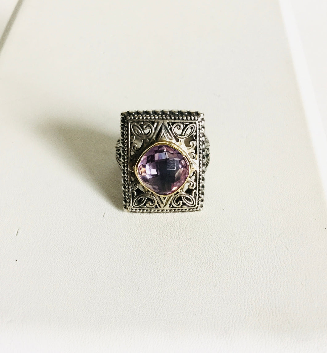 Vintage ornate detail sterling silver 9k ring/ Genuine Stones