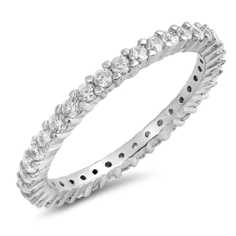Eternity Round cut Cz Sliver Ring in claw set