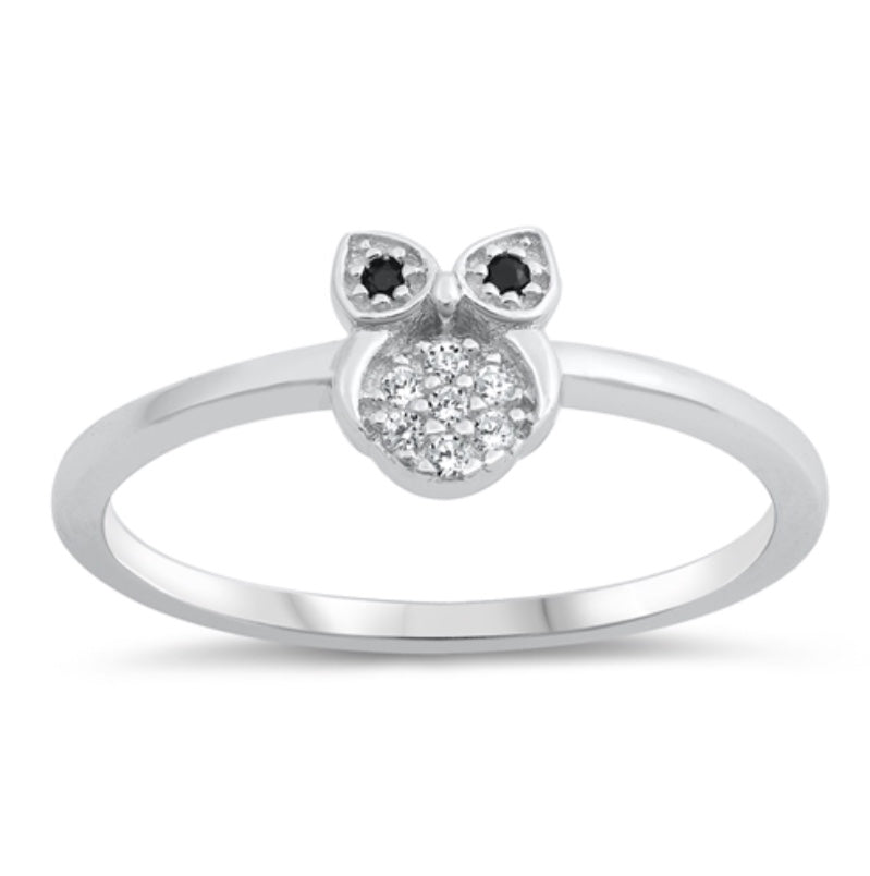 Single Owl/ Black, Clear Cz Stone Silver Ring