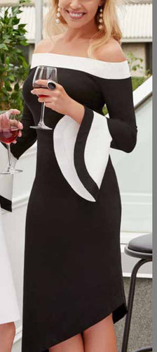 Black/Eggshell Bell Sleeve Dress