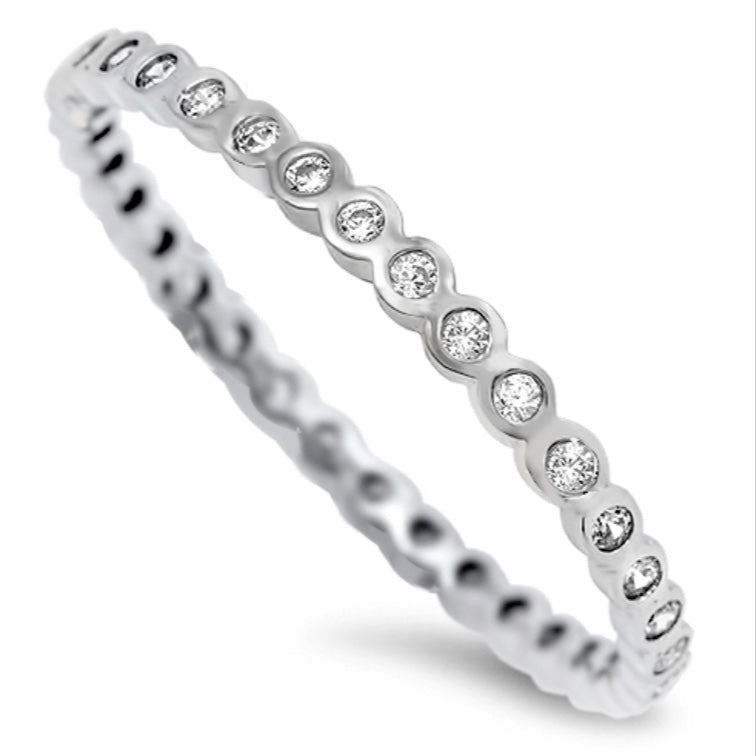Beaded Clear Stone Eternity Band