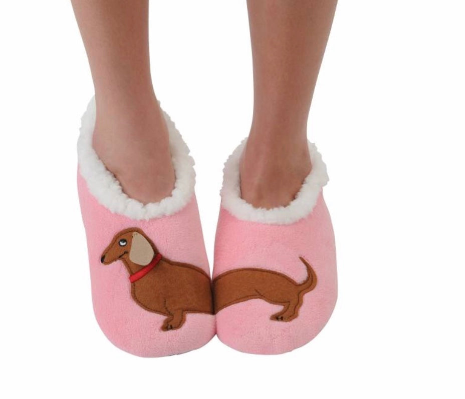 Hot Pink Dachshund Snoozies Slippers