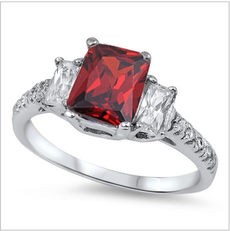 Square cut Cz Ruby set with Clear baguette Ring