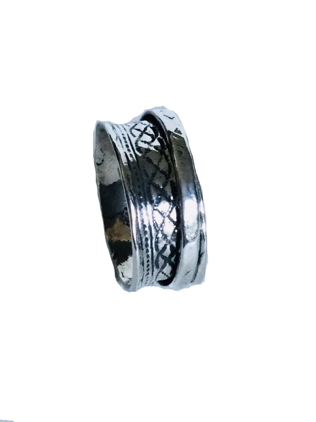 Sterling Silver crisscross design Spinner ring