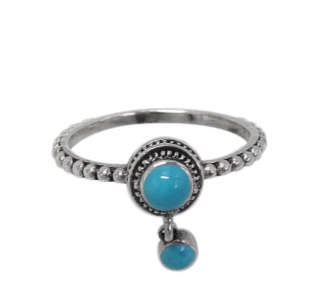 Synthetic Turquoise sterling Silver Ring/ Beaded Band
