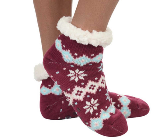 Cozy Sherpa Snow flake footie