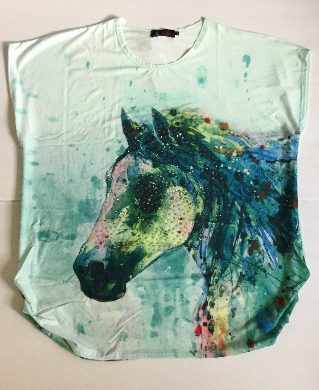 Water Color Horse Head Fun Top