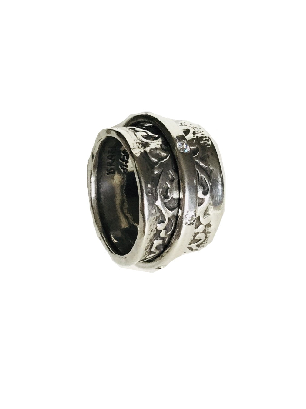 Sterling silver Filigree design spinner Ring