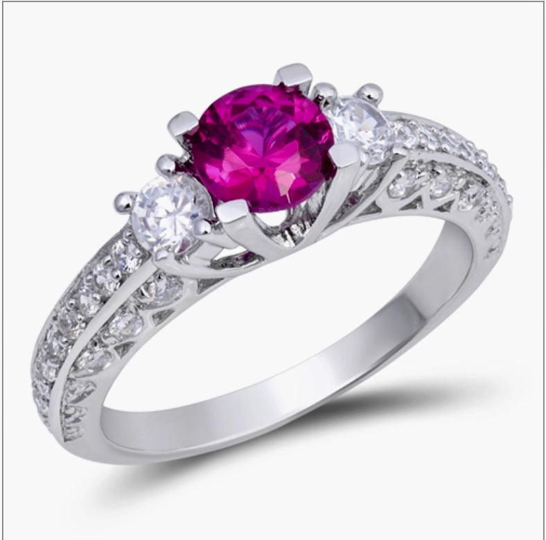 Ruby Round cut Cz with Clear round cut Cz stones