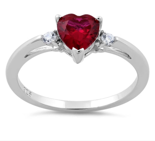 Ruby CZ Heart Silver Ring