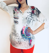 Water color Floral Sequence Print Blouse