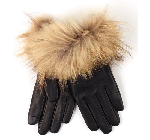 Leather glove with Fur trim