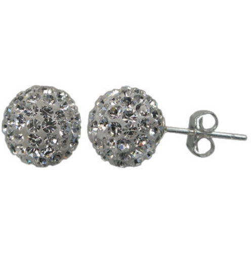 Round Faceted Stone Stud Earring