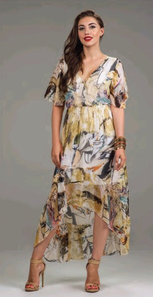 High-Low Silk Cap Sleeve Dress