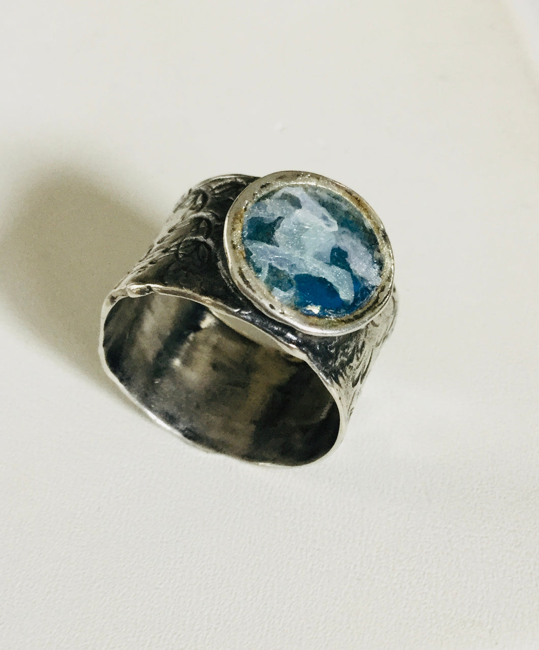 Roman Glass cigar band style ring