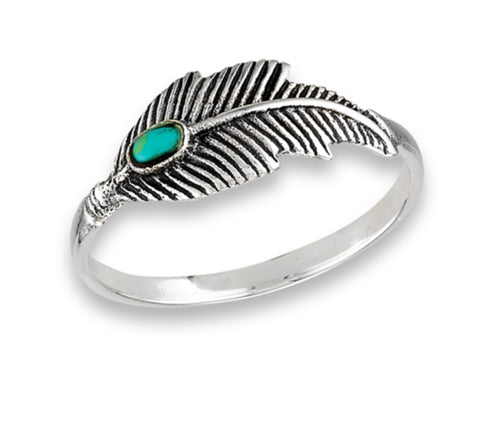 Feather Ring with synthetic Turquoise