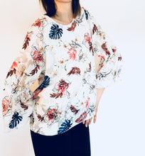 Bold Butterfly Print Bell Sleeve Top