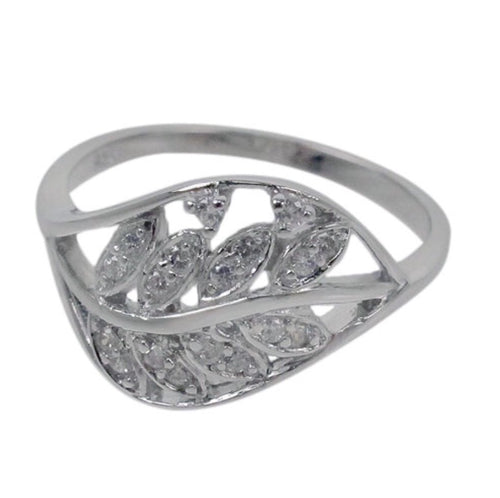 Cz Leaf Wrap Silver Ring
