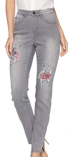 Olivia Slim Leg Denim Pearl/ Patch work