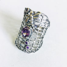 Sterling silver Dragonfly Amethyst Shield Ring