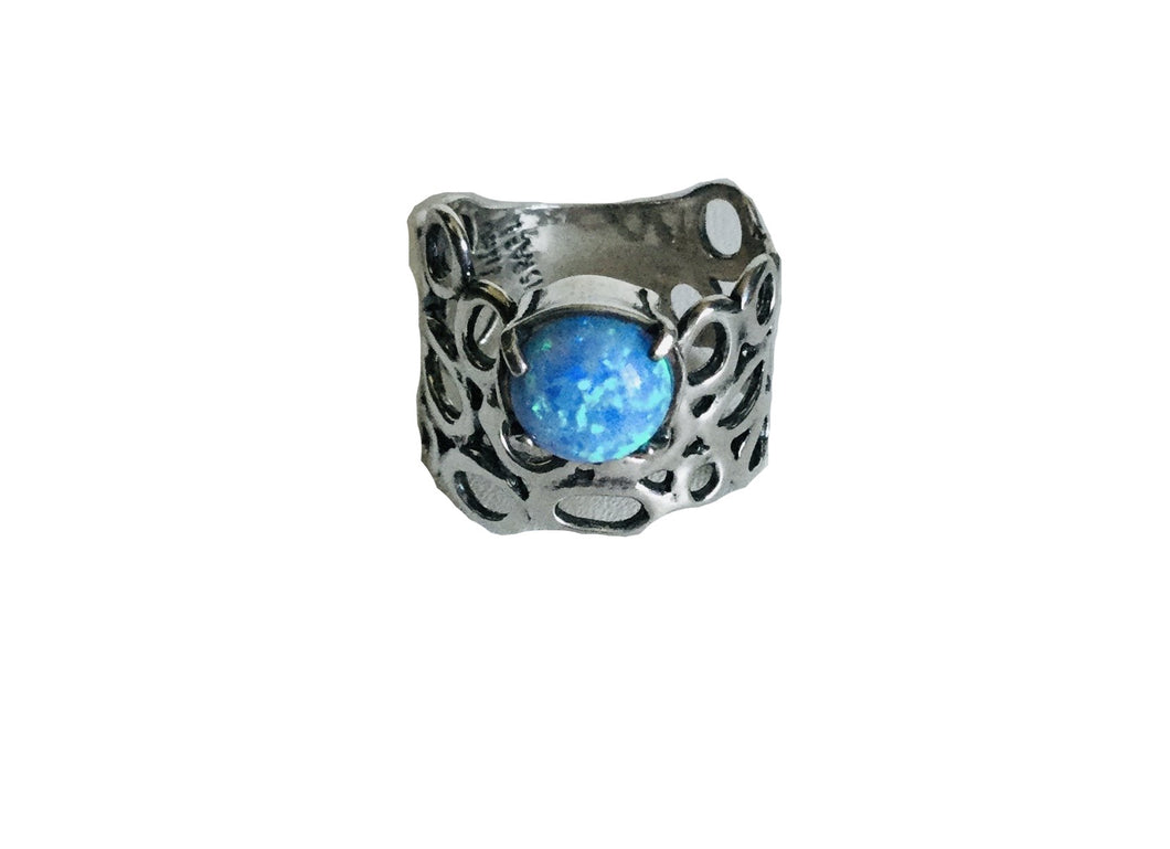 Sterling silver Circular cutout lab Blue Opal Ring.