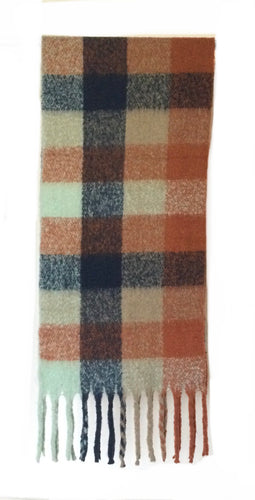 Oversize Plaid Orange checkered scarf
