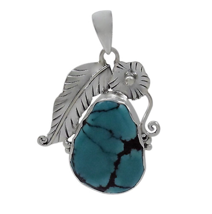 Genuine Turquoise and Silver Leaf Pendant