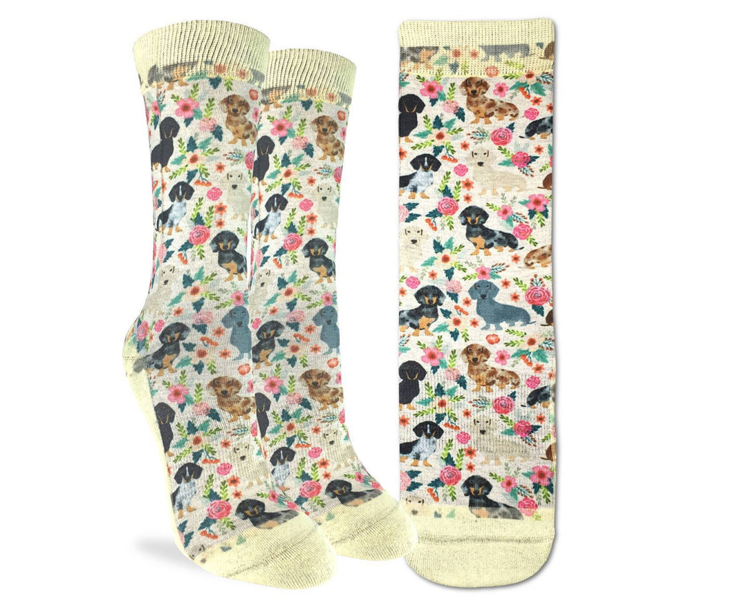 Women's Floral Dachshunds Fun Sock Active Fit