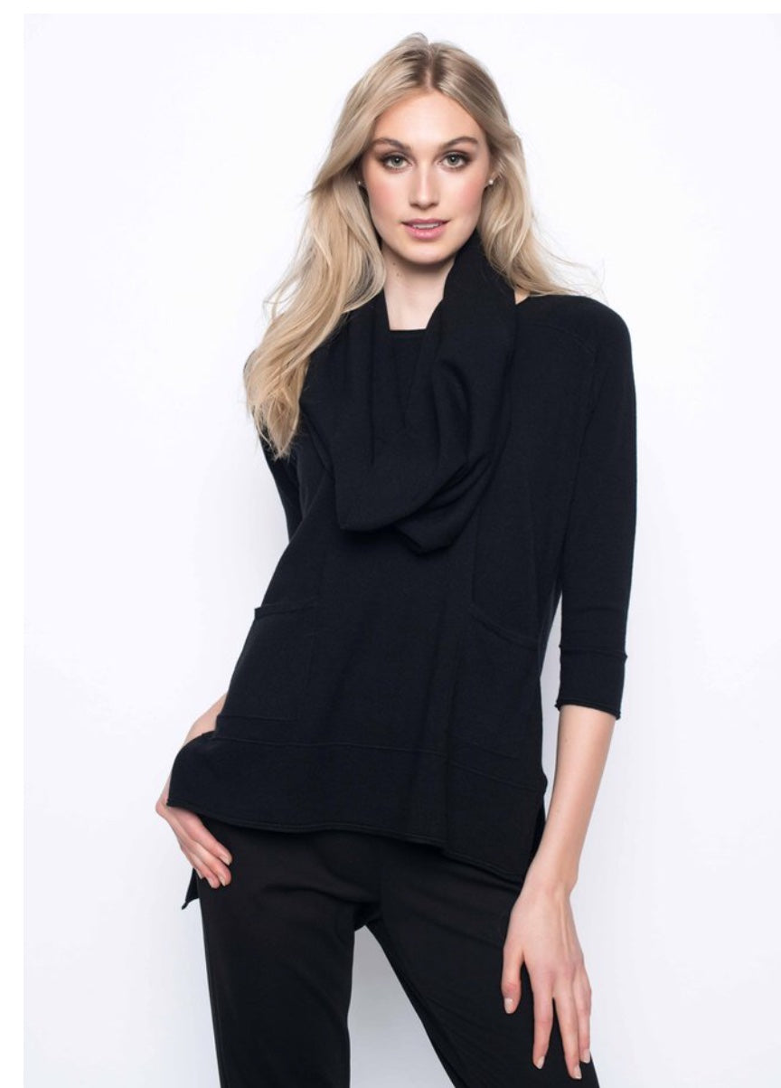 Drop Shoulder Top front pockets with detachable Scarf