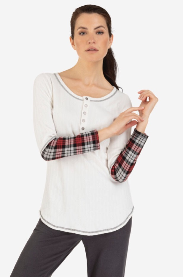 Henley Top Combo Plaid  Sleeve Print