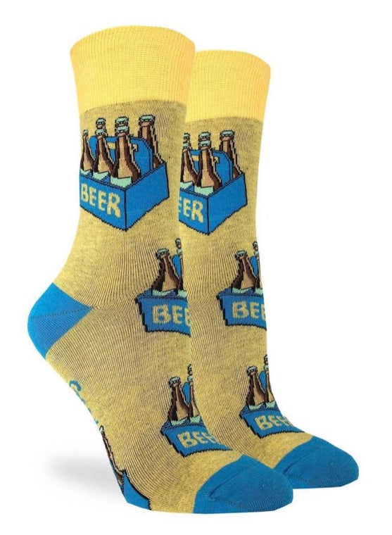Women's Six Pack of Beer crew Socks