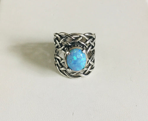 Synthetic Blue Opal Ring with woven detailed band