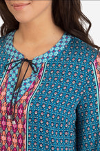Bali Blue 3/4 Sleeve Multi Colour Print Blouse
