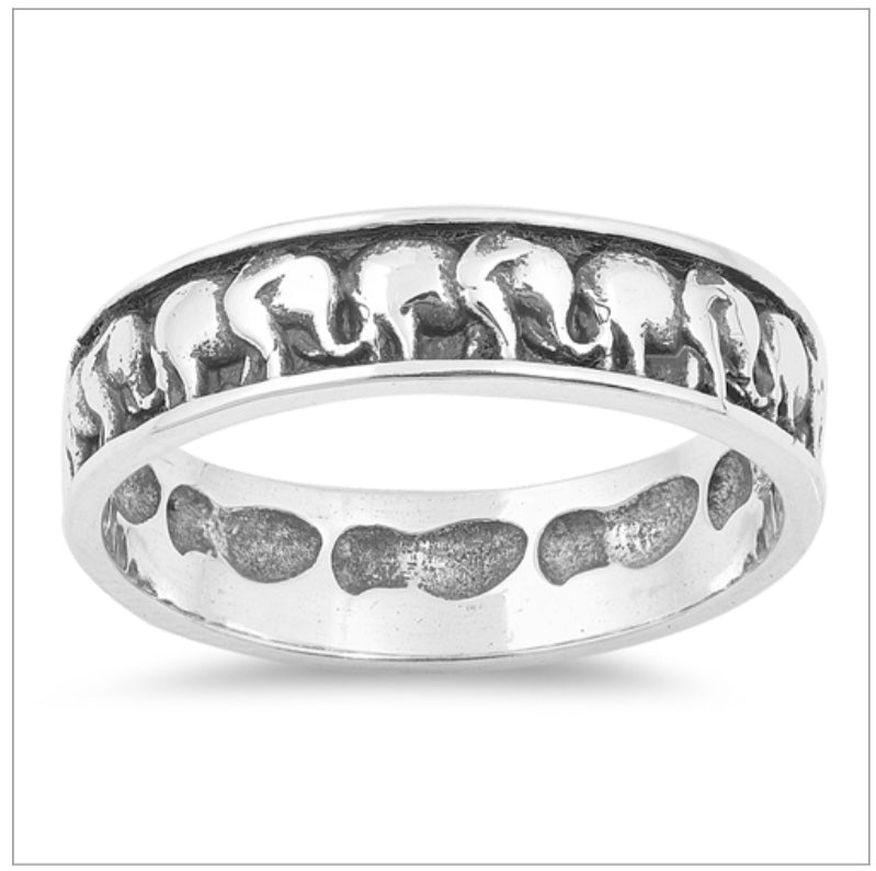 Etched Infinity Elephant  Ring