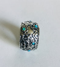 Sterling Silver Cigar style ring with lab Opal stones