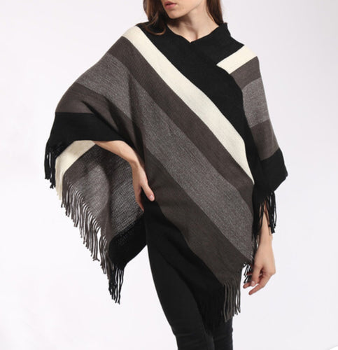 Color Blocked striped poncho