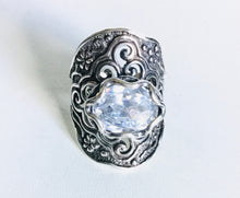 Sterling silver Cz filigree  Shield ring