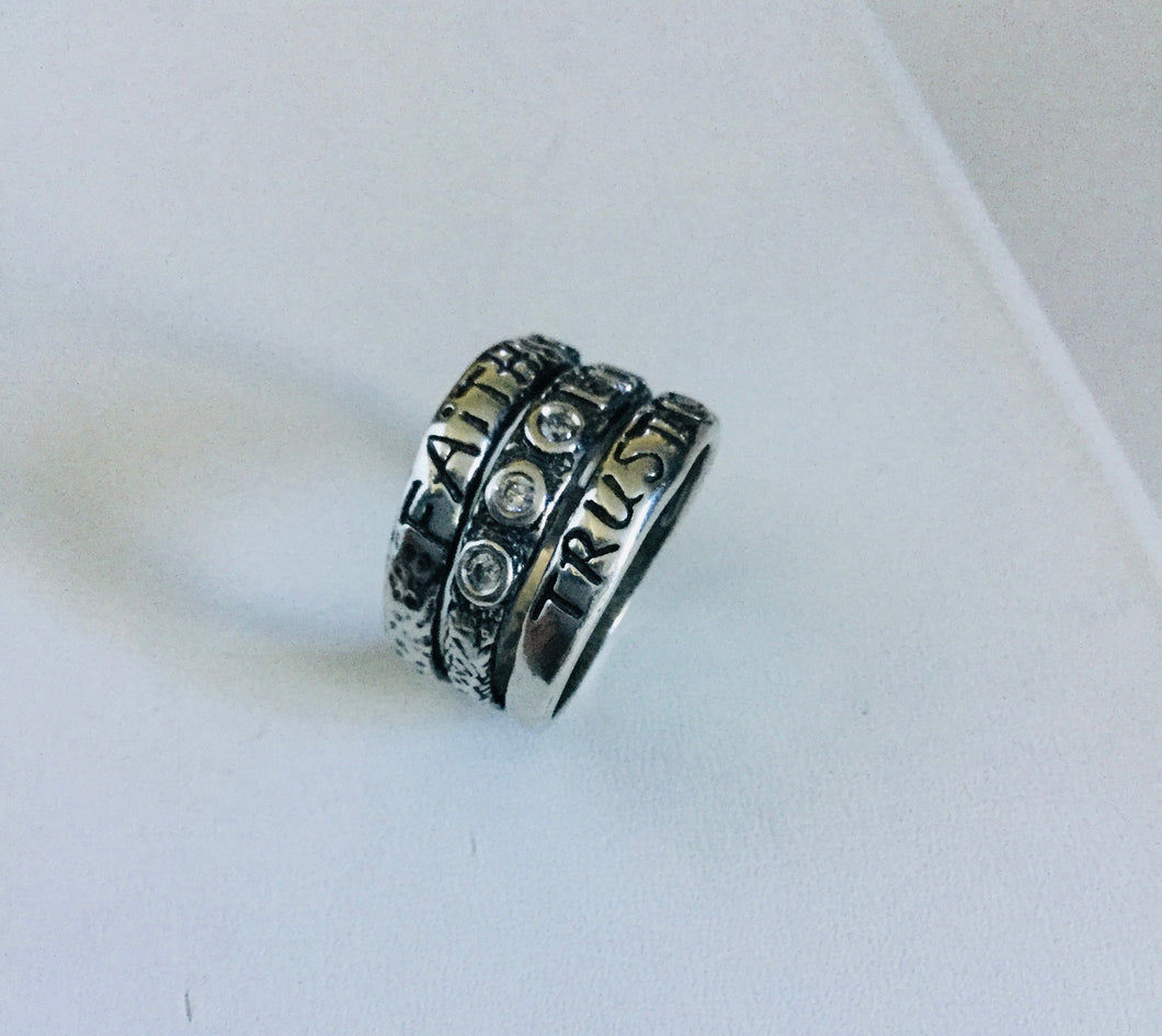 Faith,Love,Trust sterling silver  Ring
