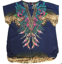 V-Neck Feather Embellishment Navy/Beige FunTop