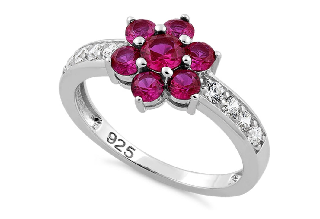 Floral Cz Ruby Silver Ring
