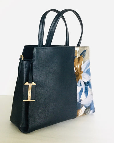 Navy Handbag water colour floral Print
