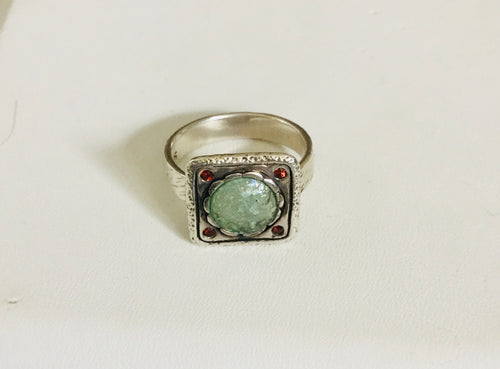 Garnet/ Patina Roman Glass Ring